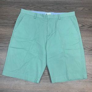 J. Crew Green Flat Front Shorts 36